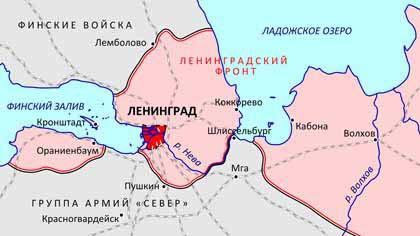 блокада Ленинграда кратко главное - карта